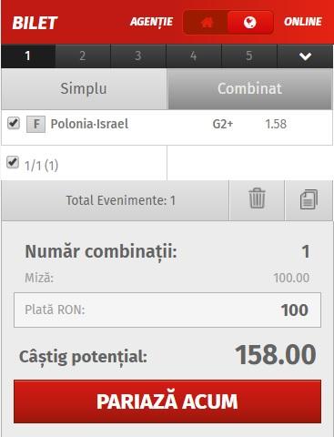 pont pariuri Polonia vs Israel