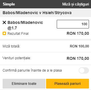 pont pariuri Timea Babos / Kristina Mladenovic vs Su Wei Hsieh / Barbora Strycova