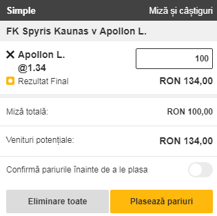 pont pariuri FK Kauno Zalgiris vs Apollon Limassol