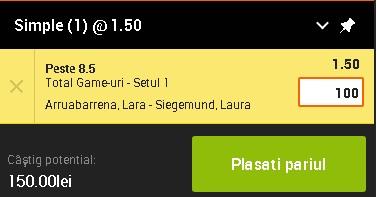 pont pariuri Lara Arruabarrena vs Laura Siegemund