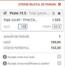 pont pariuri Irina Begu vs Kaja Juvan