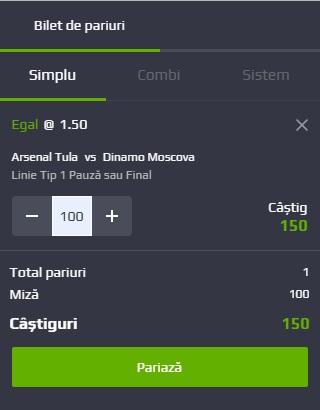 pont pariuri Arsenal Tula vs Dinamo Moscova