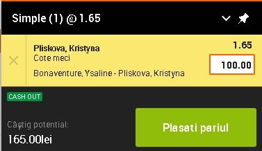pont pariuri Ysaline Bonaventure vs Kristyna Pliskova