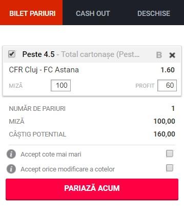 pont pariuri CFR Cluj vs Astana