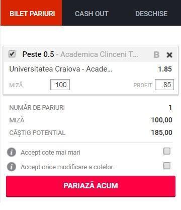 pont pariuri Universitatea Craiova vs Academica Clinceni