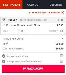 pont pariuri Dunav Ruse vs Levski
