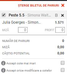 pont pariuri Julia Goerges vs Simona Waltert