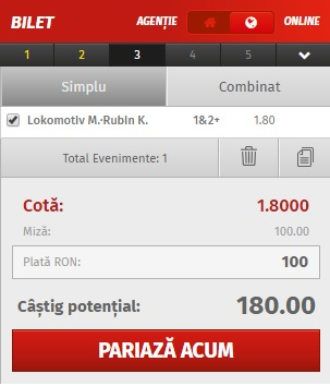 pont pariuri Lokomotiv Moscova vs Rubin Kazan