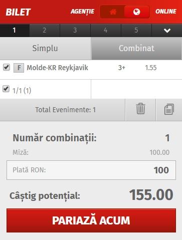 pont pariuri Molde vs Reykjavik