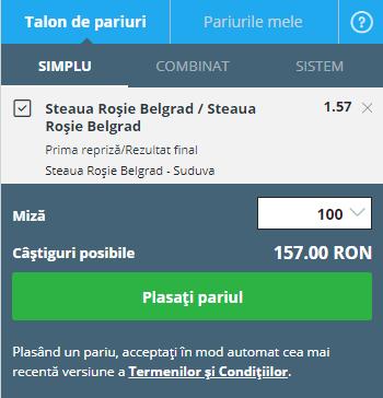 pont pariuri Steaua Roșie Belgrad- Suduva