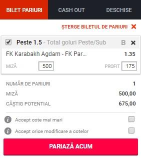 pont pariuri Qarabag vs Partizani