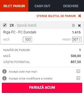 pont pariuri Riga vs Dundalk