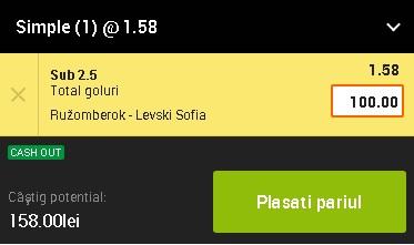 pont pariuri Ruzomberok vs Levski Sofia