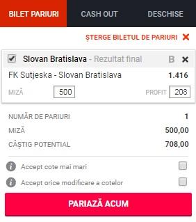 pont pariuri Sutjeska vs Slovan Bratislava