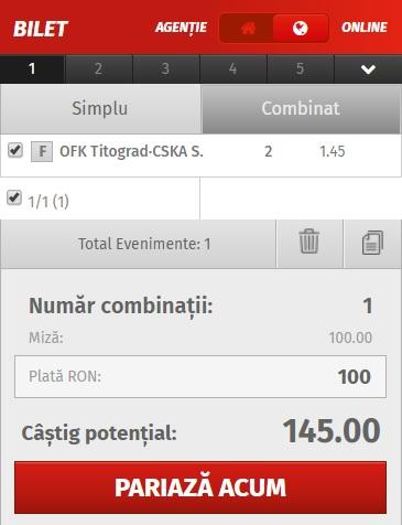 pont pariuri Titograd vs ȚSKA Sofia