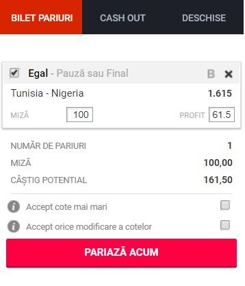 pont pariuri Tunisia vs Nigeria