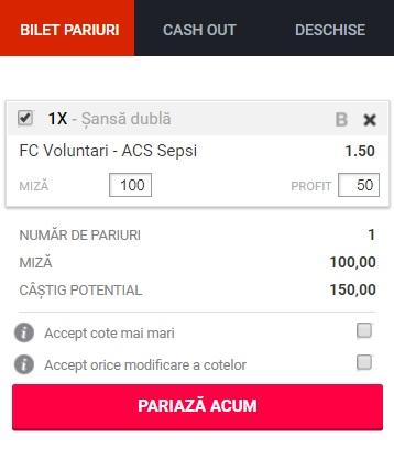 pont pariuri FC Voluntari vs Sepsi