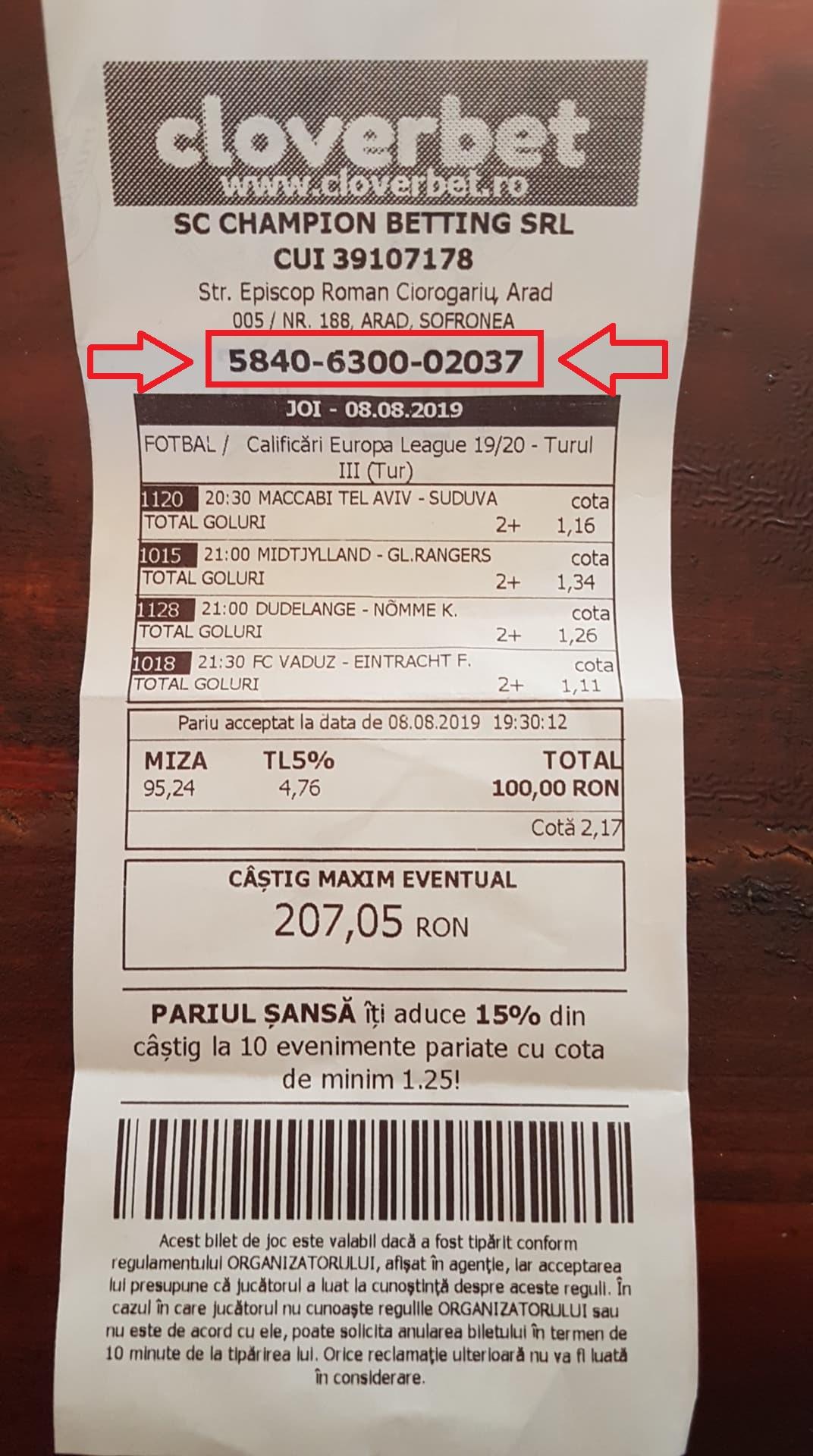Verificarea biletului la Cloverbet