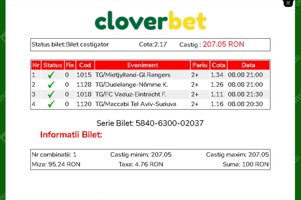 Bilet verificat la Cloverbet
