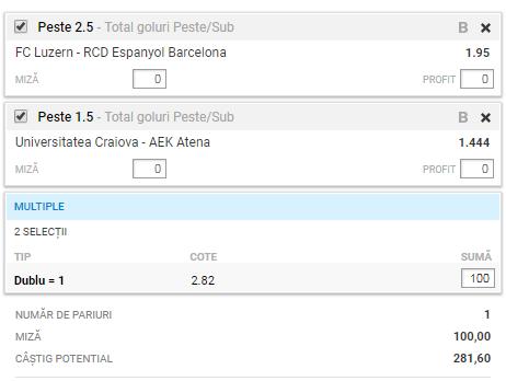 Biletul zilei din fotbal de la Alyn – Joi 08 August – Cota 2.82 – Castig potential 282 RON