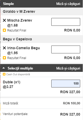 Biletul zilei din tenis de la ERC – Miercuri 21 August – Cota 3.27 – Castig potential 327 RON