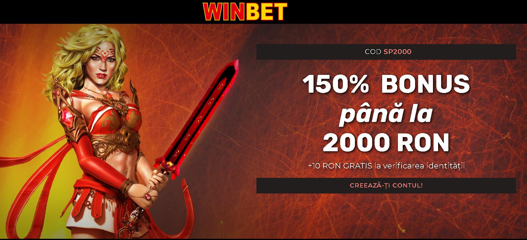 bonus winbet 150% pana al 2000 RON