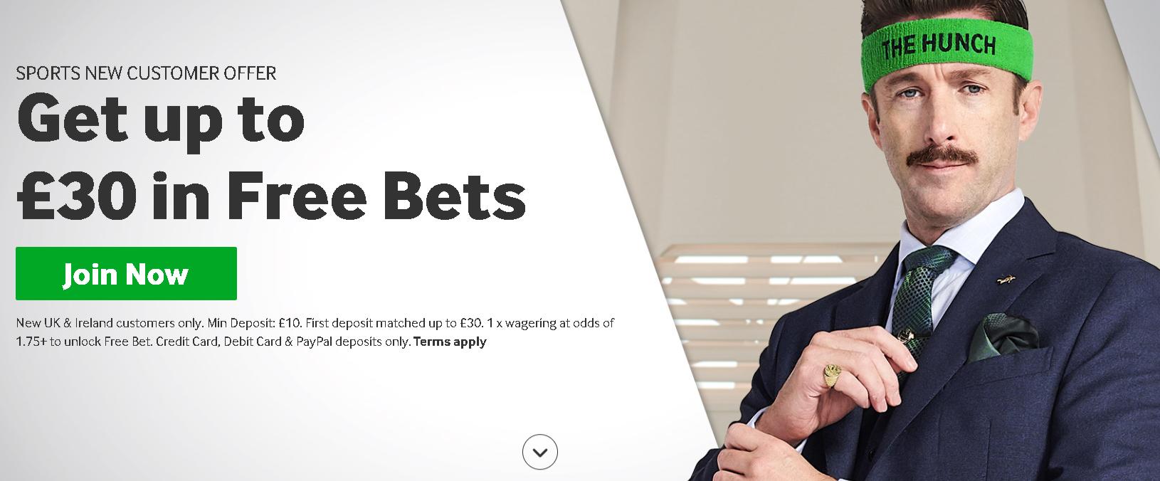 Free bet de 30 de Lire la Betway