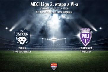 Ponturi Turris Turnu Magurele-ASU Poli Timisoara fotbal 7-septembrie-2019 Liga 2