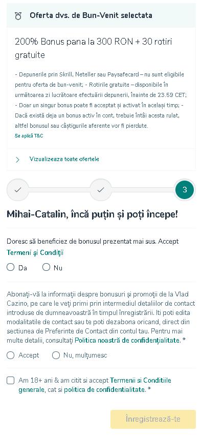 Formular inregistrare Vlad Cazino 3