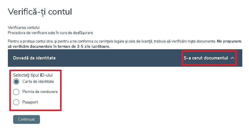Verificarea contului la Vlad Cazino 2