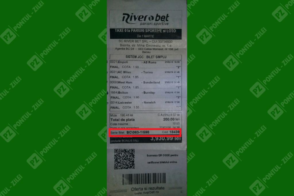 Cum verifici biletul la River Bet