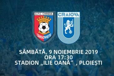 Ponturi Chindia Targoviste-Universitatea Craiova fotbal 9-noiembrie-2019 Liga 1
