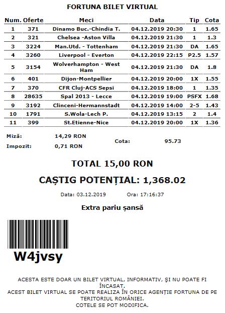 Biletul zilei fotbal COTA MARE – Miercuri 04 Decembrie – Cota 95 – Castig potential 1368 RON