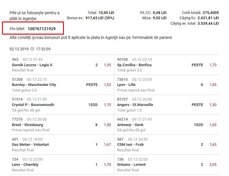 Biletul zilei fotbal COTA MARE – Marti 03 Decembrie – Cota 275 – Castig potential 3539 RON