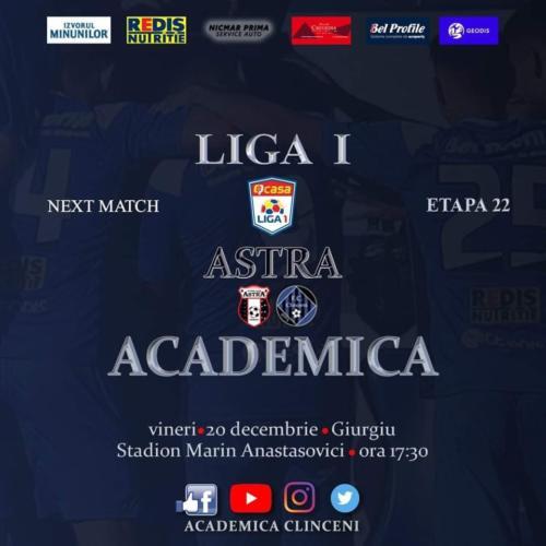 Ponturi Astra Giurgiu - Academica Clinceni fotbal 20-decembrie-2019 Liga 1