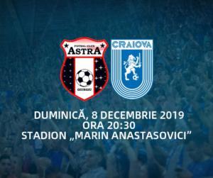 Ponturi Astra Giurgiu - Universitatea Craiova fotbal 8 decembrie 2019 Liga 1