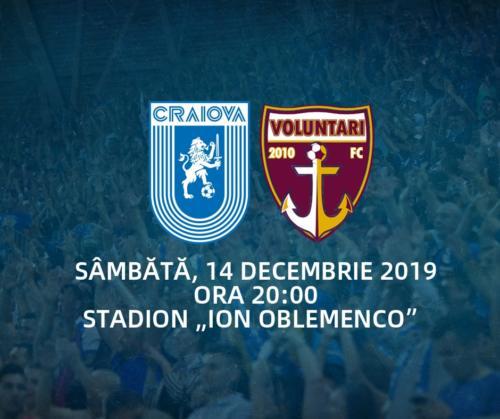 Ponturi Universitatea Craiova - FC Voluntari fotbal 14 decembrie 2019 Liga 1