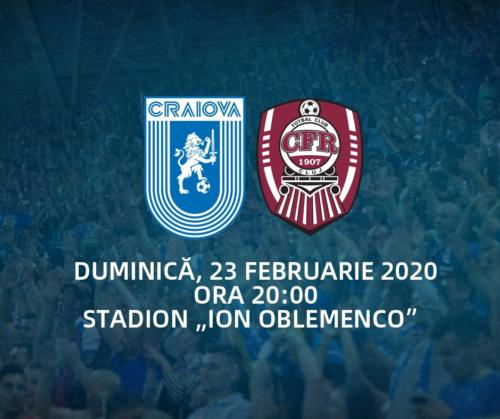 Ponturi Universitatea Craiova-CFR Cluj fotbal 23-februarie-2020 Liga 1