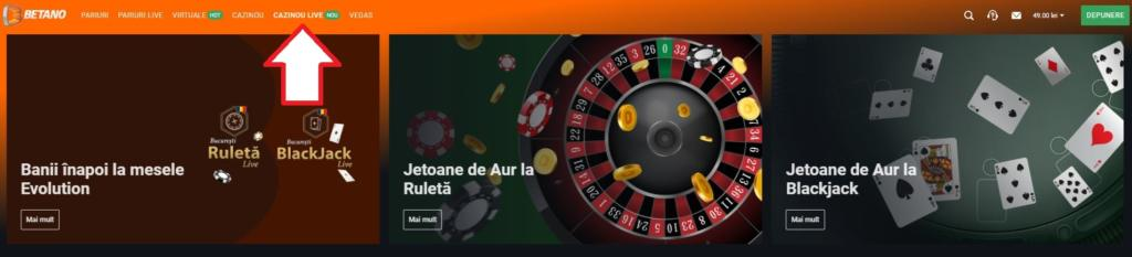 Cum accesezi cazinoul live betano