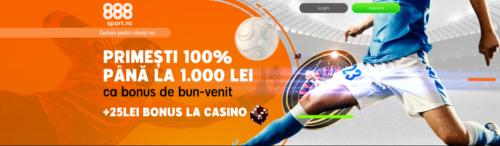 Oferta noua de bun venit la 888! Pana la 1.000 RON bonus + 25 RON bonus cazino!