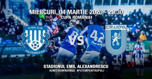 Ponturi Poli Iasi-Universitatea Craiova fotbal 4-martie-2020 Cupa Romaniei