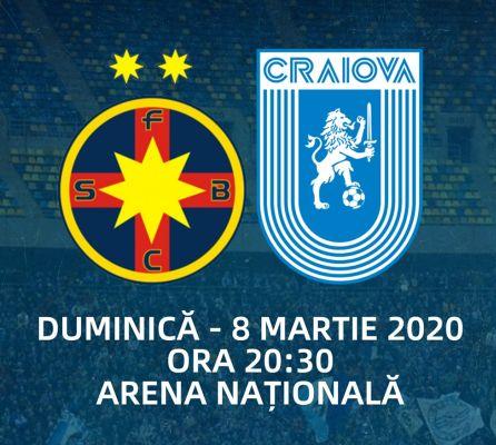 Ponturi FCSB vs Universitatea Craiova fotbal 8 martie 2020 Liga 1