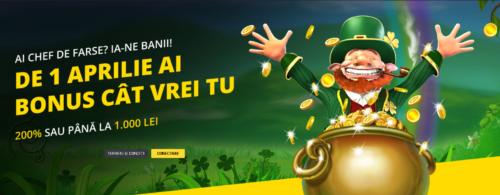 Nu este o farsa! De 1 aprilie ai la FORTUNA bonus 200% sau pana la 1.000 RON! Tu alegi!