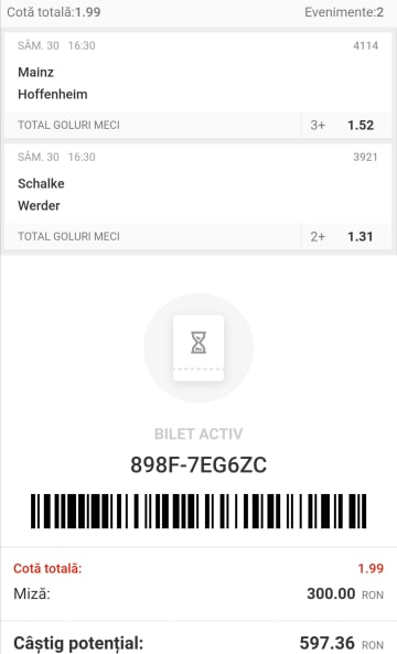 Biletul zilei fotbal Tudor – Sambata 30 Mai 2020 – Cota 1.99 – Castig potential 597 RON