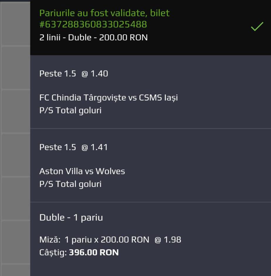 Biletul zilei fotbal Tudor – Sambata 27 Iunie 2020 – Cota 1.98 – Castig potential 396 RON