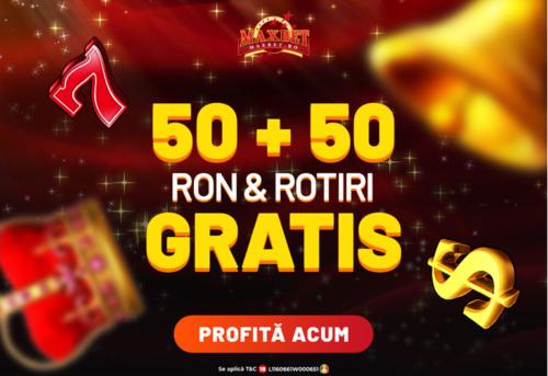 Profita de oferta lunii IUNIE la MAXBET: 50 RON & 50 ROTIRI GRATIS FARA DEPUNERE!