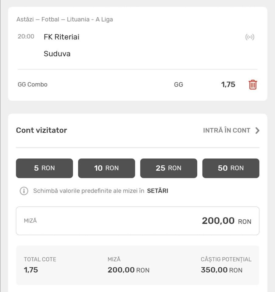 Cota Zilei Tudor Popa – Marti 28 Iulie 2020 – Cota 1.75 – Castig potential 350 RON