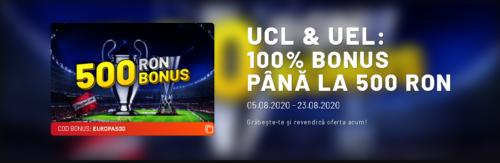 500 RON bonus daca pariezi pe fazele finale ale Champions League si Europa League!