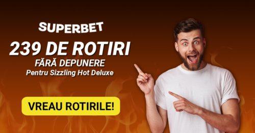 SUPER oferta de la SUPERBET: 239 de rotiri GRATUITE! Grabeste-te, oferta este LIMITATA!
