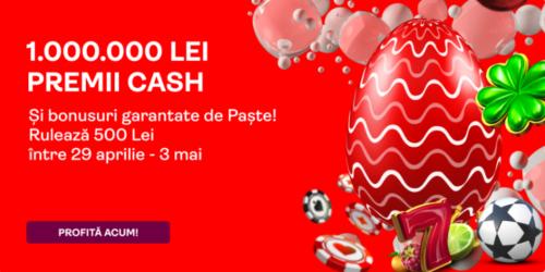 50 RON bonus la sport + 50 rotiri gratuite + o sansa la tragerea la sorti de 1.000.000 RON! Totul de la SUPERBET!